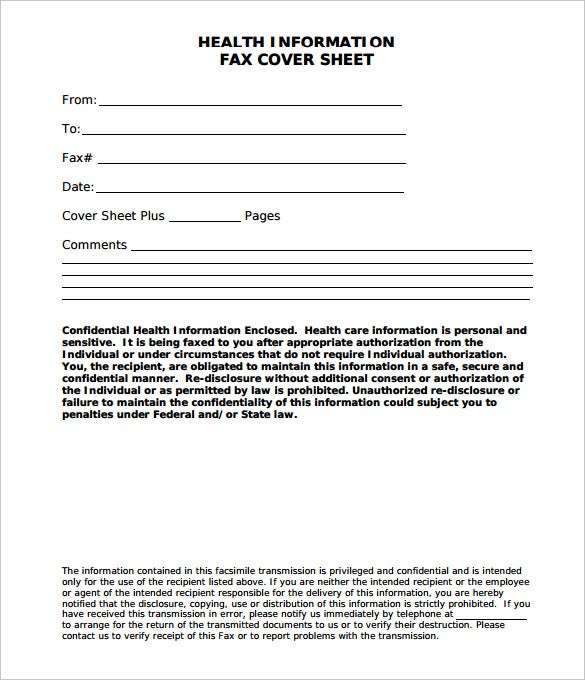 Medical Fax Cover Sheet 9 Free Word PDF Documents Download – Sample Fax Cover Sheet