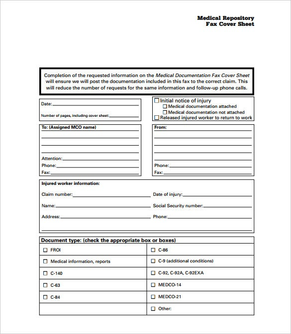 medical repository fax cover sheet template free printable