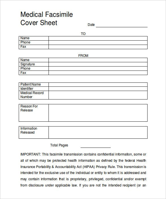 medical hipaa fax cover sheet template free download