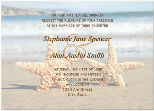starfish couple beach wedding invitation psd format template