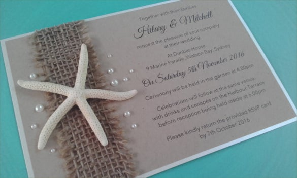 rustic beach wedding invitation psd format template