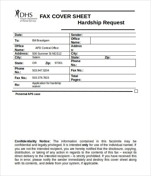 confidentiality notice fax medical cover sheet template