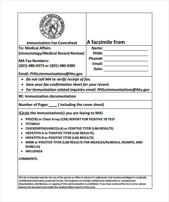 printable immunization medical fax cover sheet pdf
