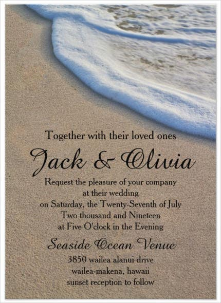 casual beach wedding invitation psd format template