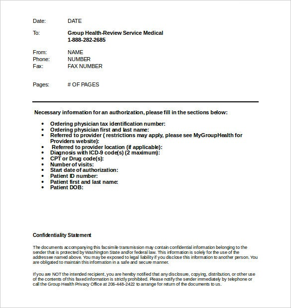 standard medical fax cover sheet template download
