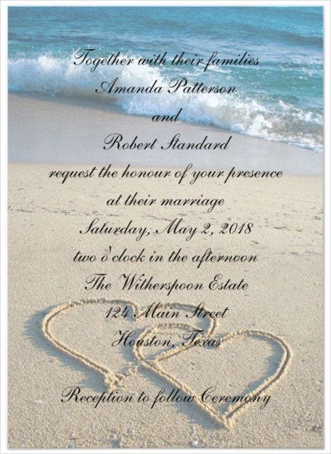 heart on the shore beach wedding invitation psd format template