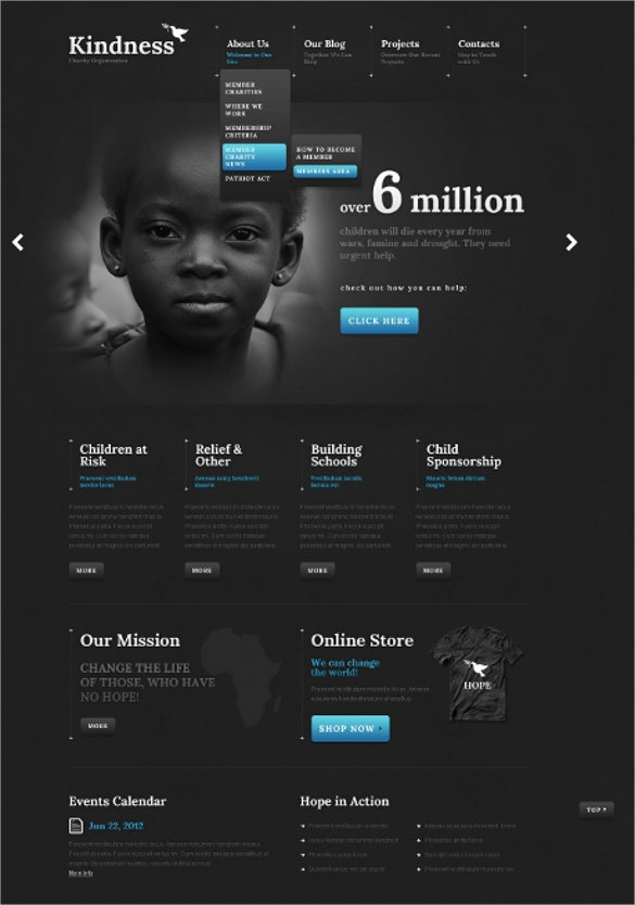 black charity website wordpress theme