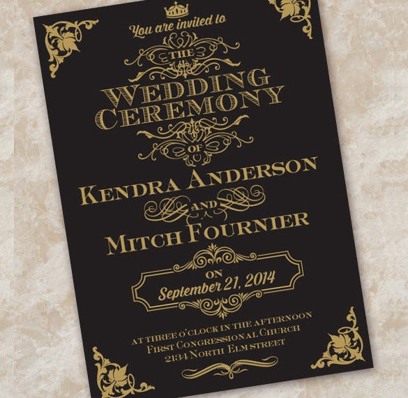 Wedding invitation etiquette 17 psd indesign format download black and gold wedding invitation etiquette stopboris