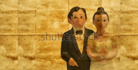 wedding couple simulating a vintage wedding invitation