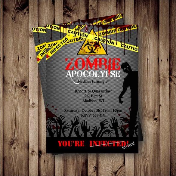 Red Yellow Printable Zombie Halloween Birthday Invitation