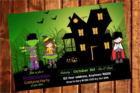 halloween costume birthday party kids invitations