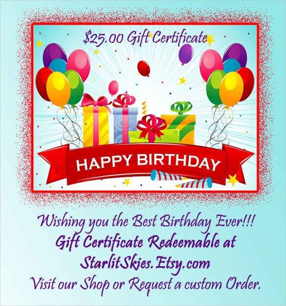 22 birthday gift certificate templates free sample example birthday gift certificate example template download negle Choice Image