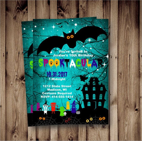 blue color halloween birthday invitation for kids