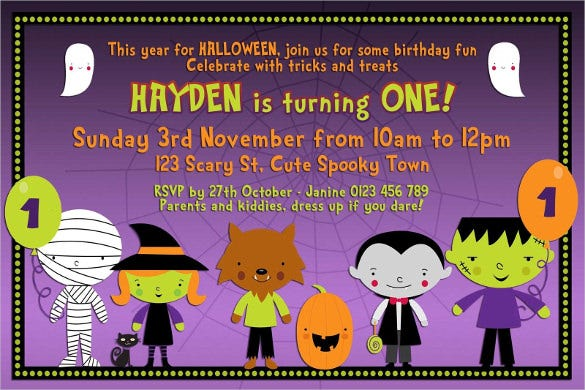 halloween birthday party invite for kids