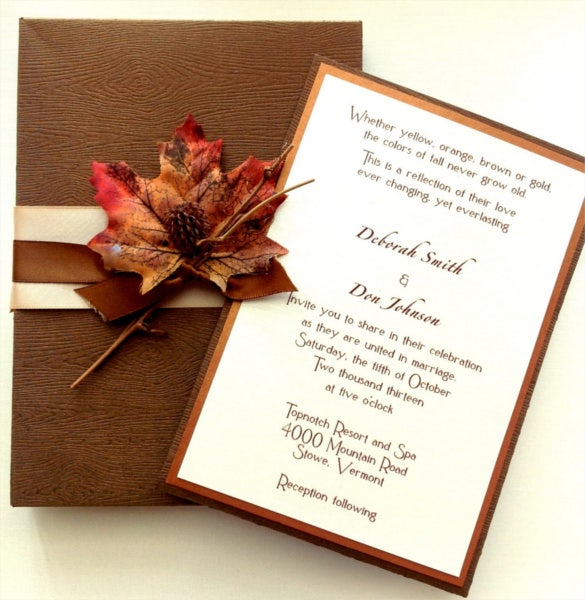 Elegant Wood Grain Fall Wedding Invitation Template