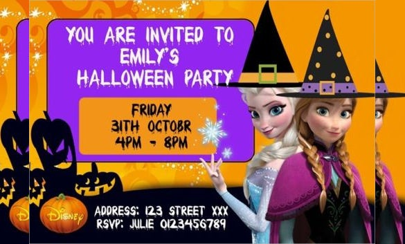 Frozen Halloween Birthday Party Invitation Cards