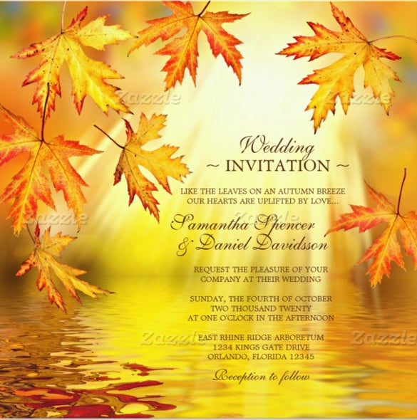 26 fall wedding invitation templates free sample example format with leaves fall wedding invitation filmwisefo