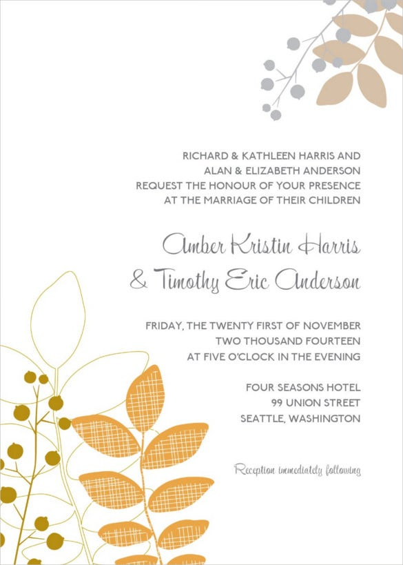beautiful fall wedding invitation free download - Wedding Invitations Free