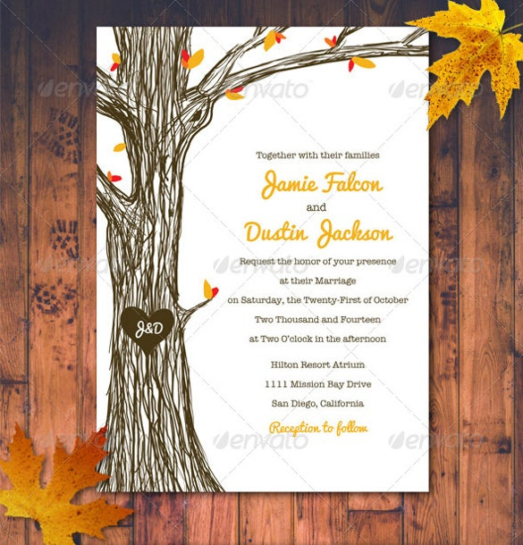 Beautiful Fall Wedding Invitation PSD Format Template