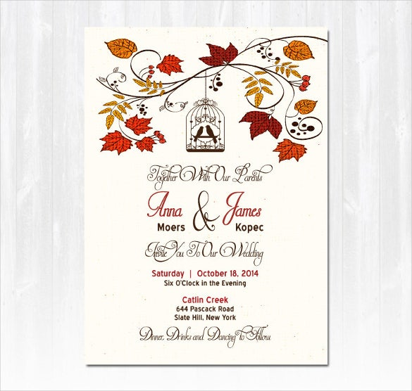 24  Fall Wedding Invitation Templates – Free Sample, Example ...