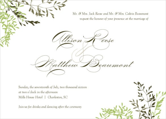 24 Fall Wedding Invitation Templates Free Sample Example – Marriage Invitation Card Templates Free Download