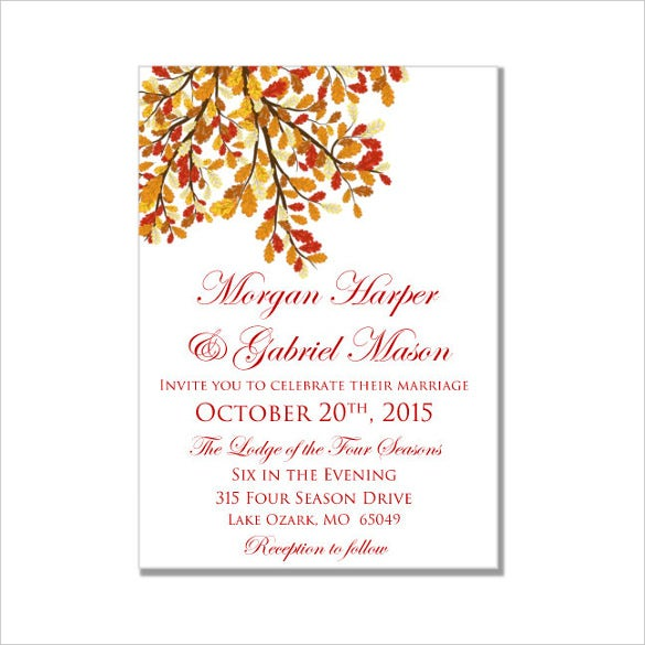 leaves fall wedding invitation microsoft® word 2007 or higher format