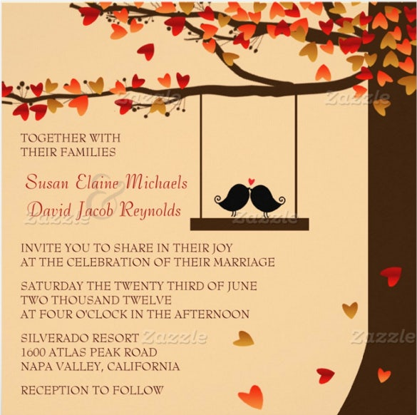 love birds fall wedding invitation