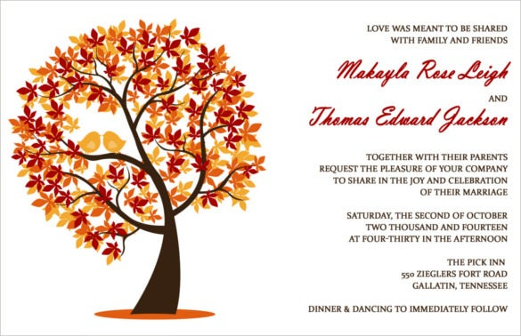 Fall Wedding Invitation Templates  WblqualCom