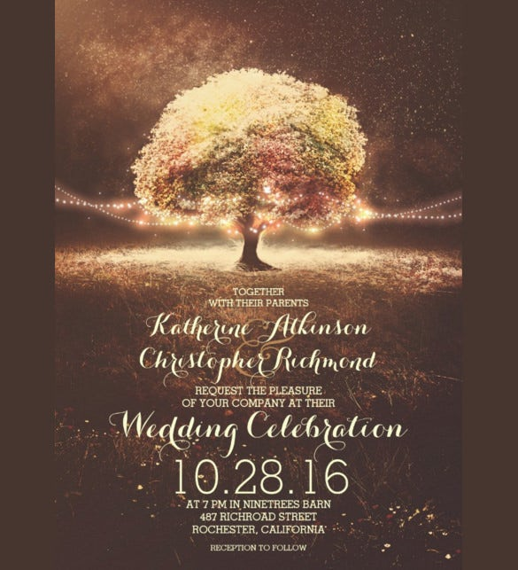 26 fall wedding invitation templates free sample example romantic string lights tree fall wedding template download junglespirit Gallery