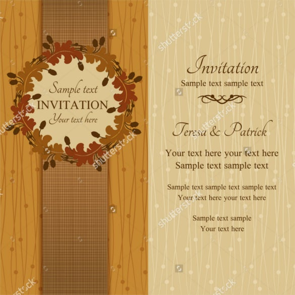 round frame with acorns brown and beige fall wedding invitation template