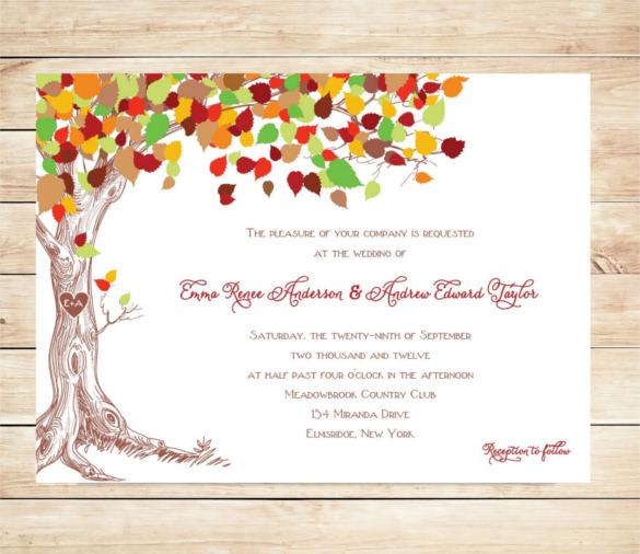 tree fall wedding invitation