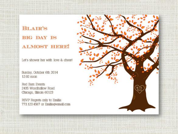 rustic fall bridal shower orange fall wedding invitation download
