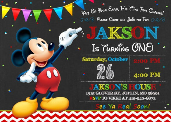 mickey mouse invitation on blackboard
