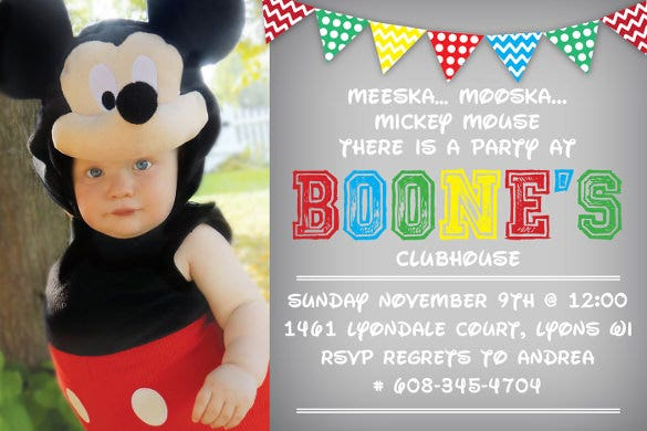 birthday invitation card in mickey mouse dress