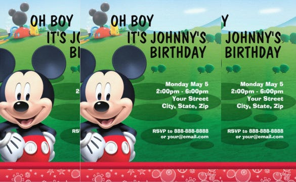 mickey mouse birthday invitation party in garden