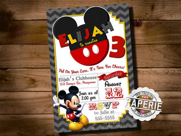 mickey mouse invitation greetings