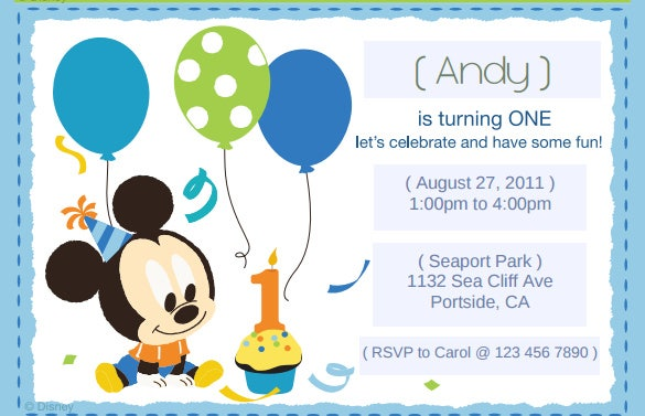image about Free Printable Mickey Mouse 1st Birthday Invitations called 30+ Mickey Mouse Invitation Template Absolutely free High quality Templates