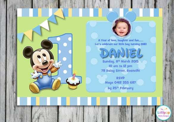 30 mickey mouse invitation template free premium templates 1st birthday invitation card presenting small micjey mouse stopboris Image collections