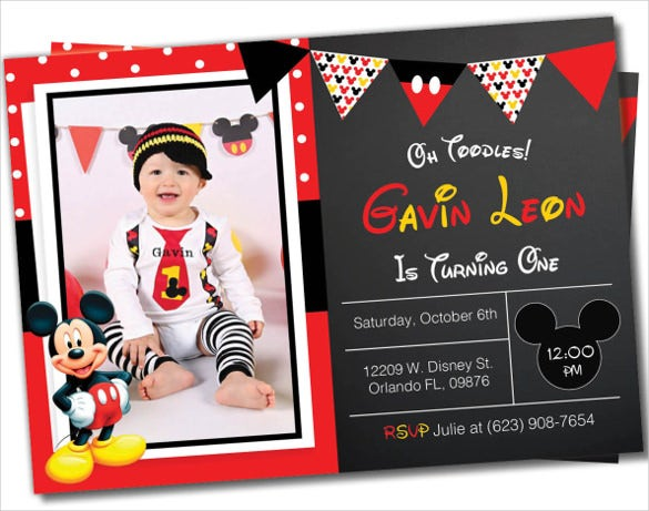 mickey mouse invitation with baby photo
