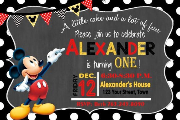 mickey mouse the boy birthday invitation