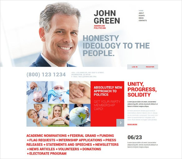 portfolio for politicians joomla blog template