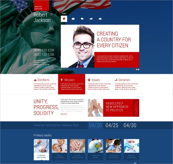 political candidate responsive wordpress blog theme