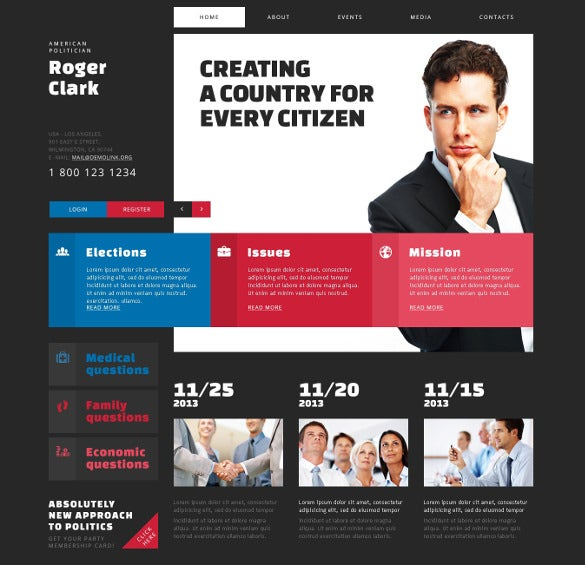 dark political candidate joomla blog template
