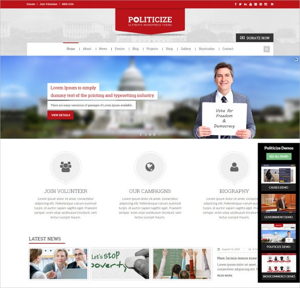 political responsive wordpress blog theme