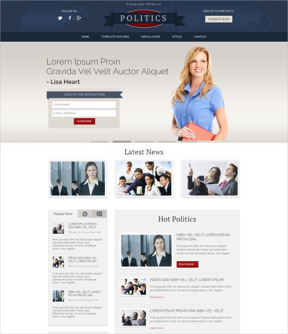 hot politics joomla blog template