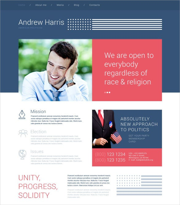 american politician wordpress html5 theme