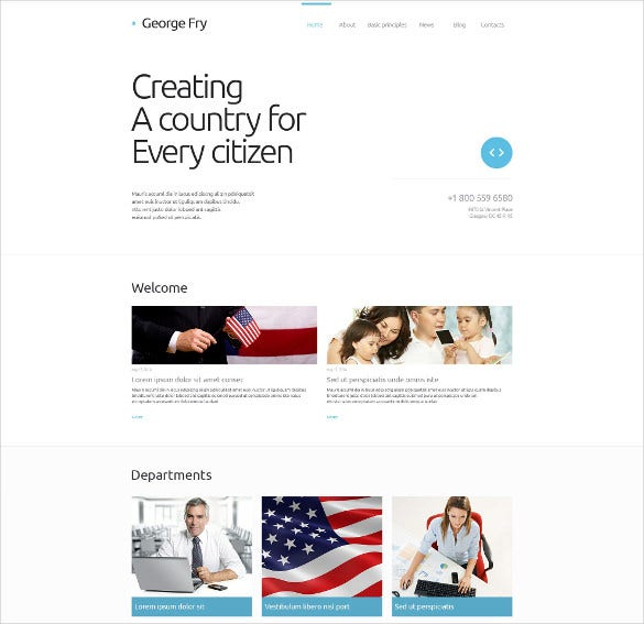 political candidate responsive website html5 template