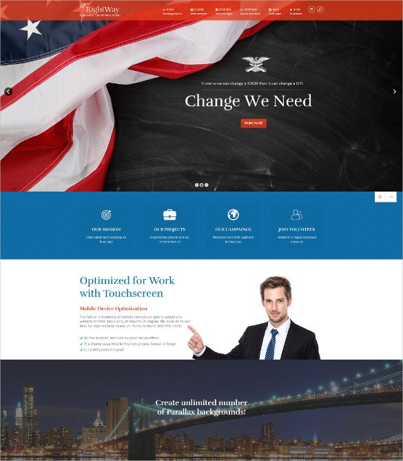 simple clean political wordpress html5 theme
