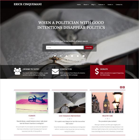 non profit politics joomla responsive html5 template