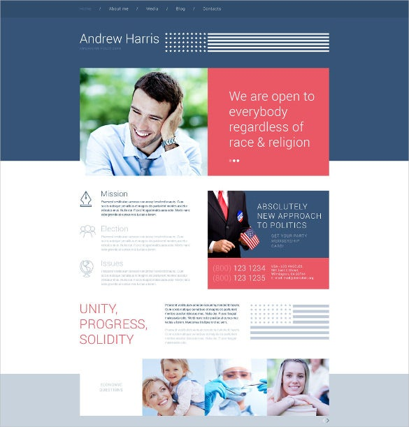 american politician wordpress bootstrap theme